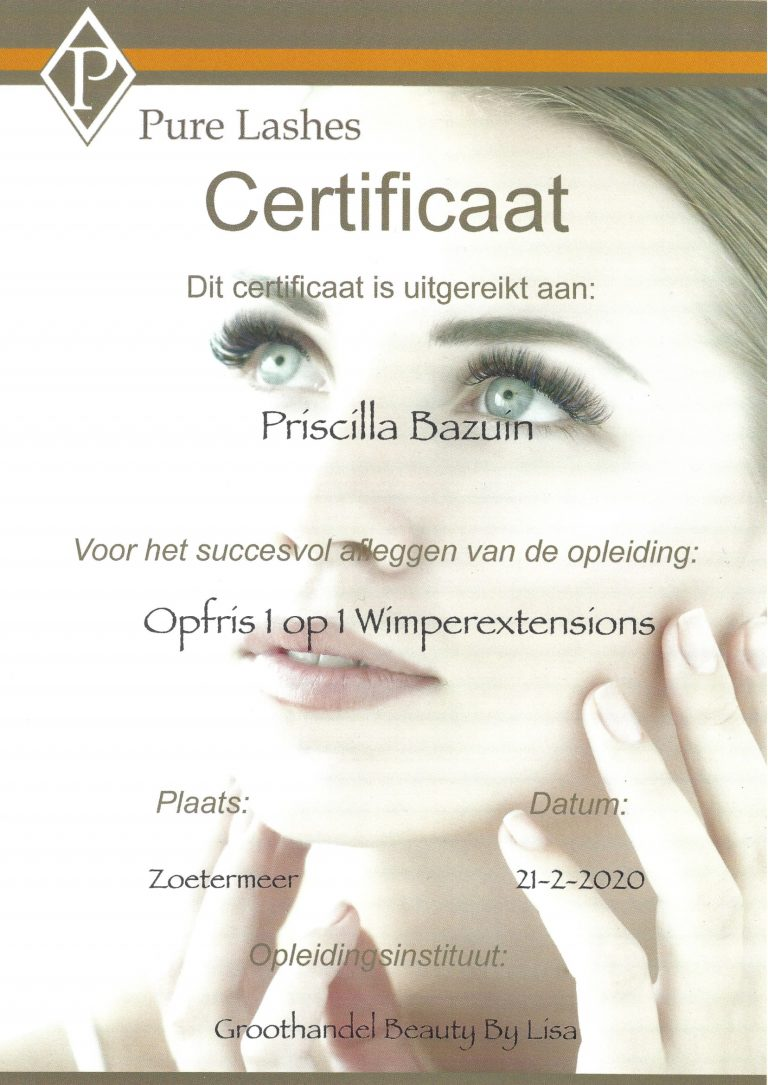 Pure Lashes - Opfris 1 op 1 Wimperextensions